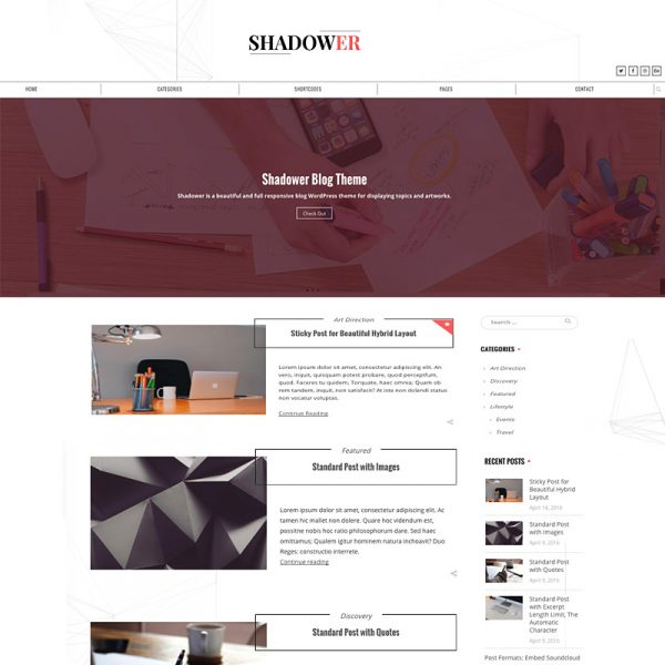 Shadower – A Clean & Beautiful Responsive WordPress Blog Theme