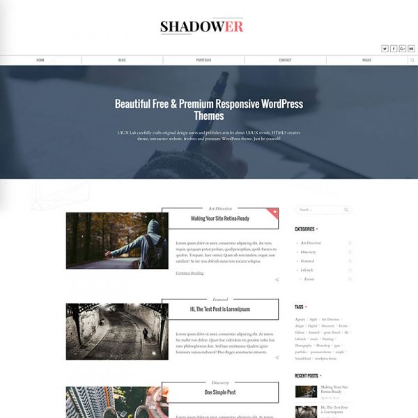 Shadower - Clean & Beautiful Responsive WordPress Blog Theme