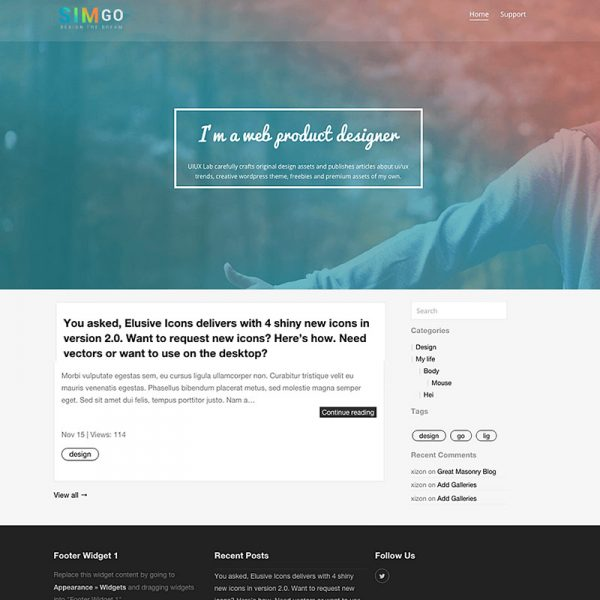 Simgo - A Simple Blog WordPress Theme